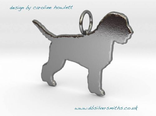 Lagotto Romagnolo stood pendant sterling silver handmade by saw piercing Caroline Howlett Design